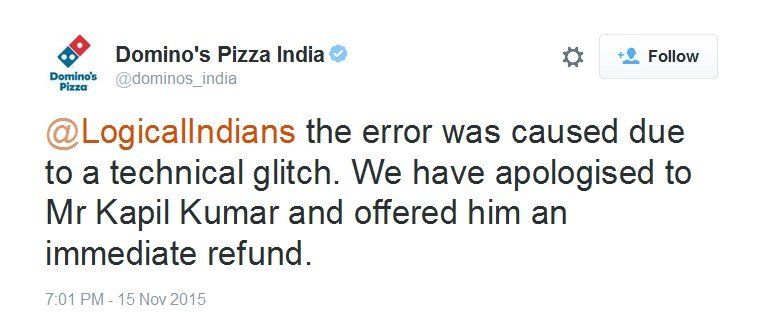 Voice of Customer: Dominos Responds To Kapil Kumar