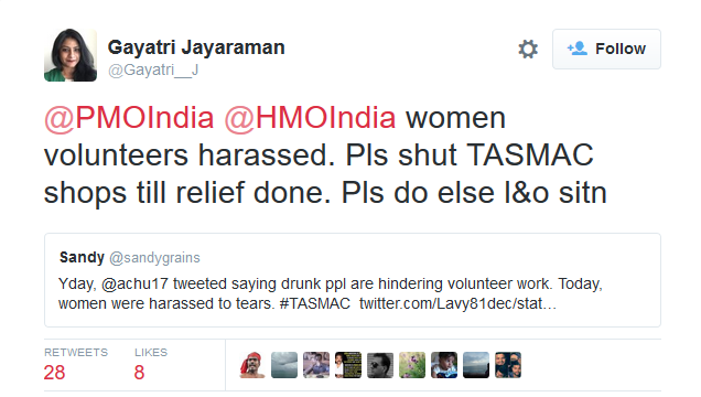A Request To Tamilnadu Govt., Shut Down TASMAC Liquor Outlets Until Relief Operations