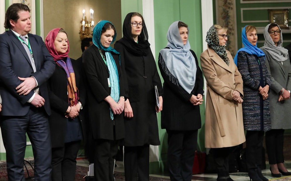 Politicians Of The Worlds First Feminist Govt. Fail To Stand Against Irans Sexist Laws; Wear The Hijab In Iran
