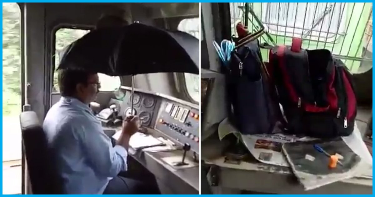 Video Shows Indian Railways Engine Leaking From Top, Driver Forced To Hold Umbrella While Driving
