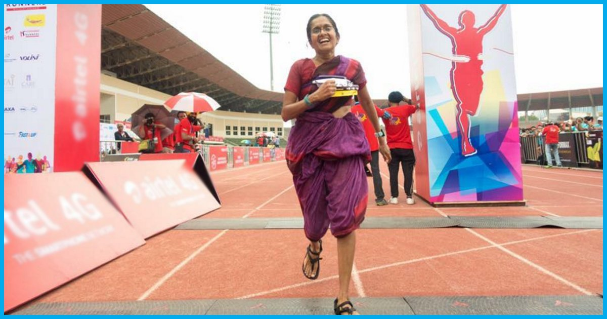 Hyderabad: Woman Runs 42 KM Marathon In Saree To Promote Handloom