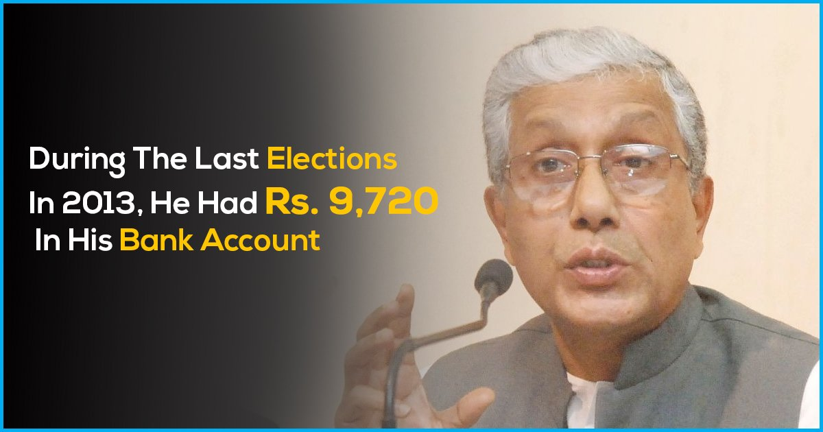 Tripura CM Manik Sarkar Poorest CM Of India Has Rs. 2,410 In Bank Account