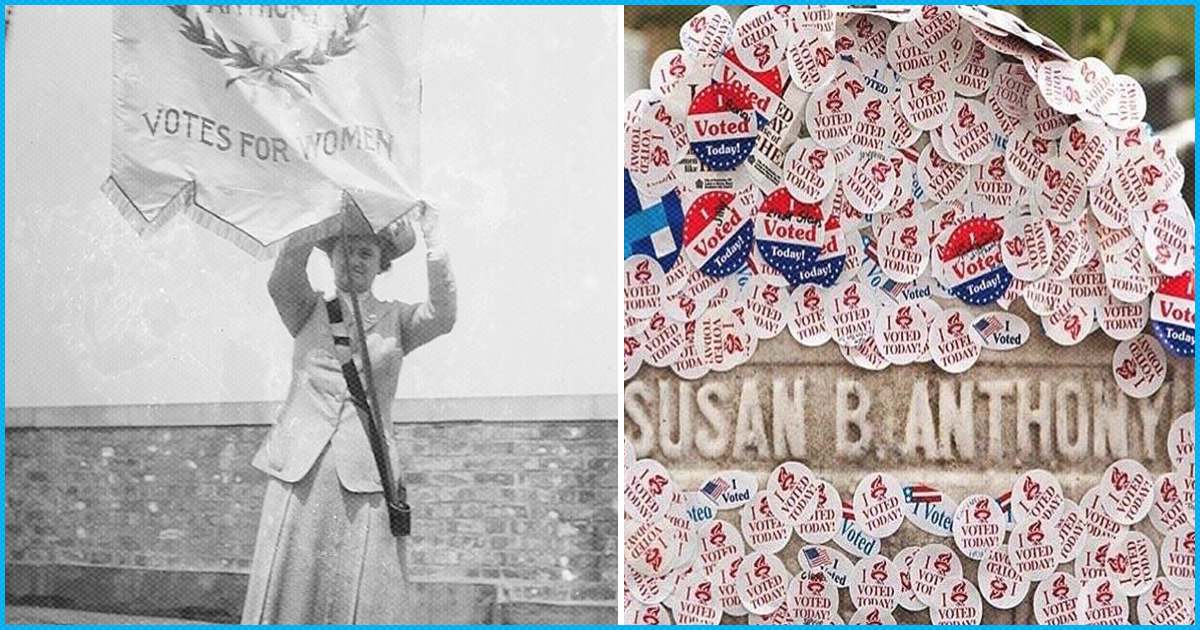 USA: In 1872, A Woman Was Arrested For Voting, 146 Yrs Later Women Visit Her Grave & Stick I Voted Stickers