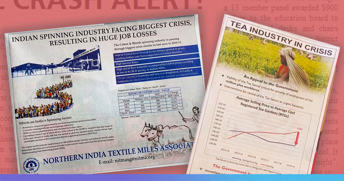 Facing Shutdown & Job Losses, Textiles Association Issues Ad In Newspaper Begging Govts Attention