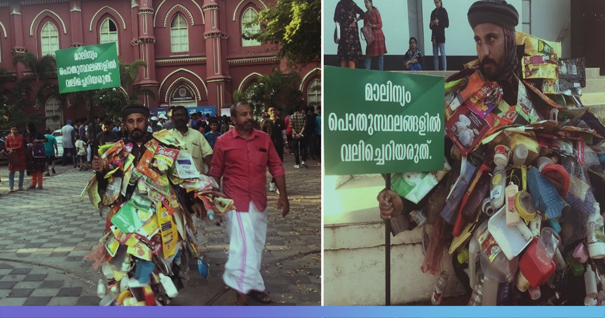 Kerala Environmentalist Walks 100 Km In 24 Hrs Covered In Plastic To Create Awareness On Littering
