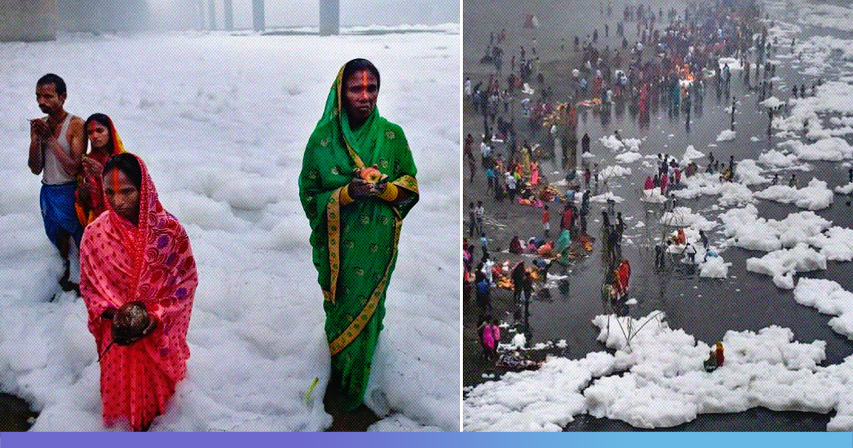 Chhat Devotees Stand Knee Deep, Offer Prayers In Toxic Foam In Polluted Yamuna
