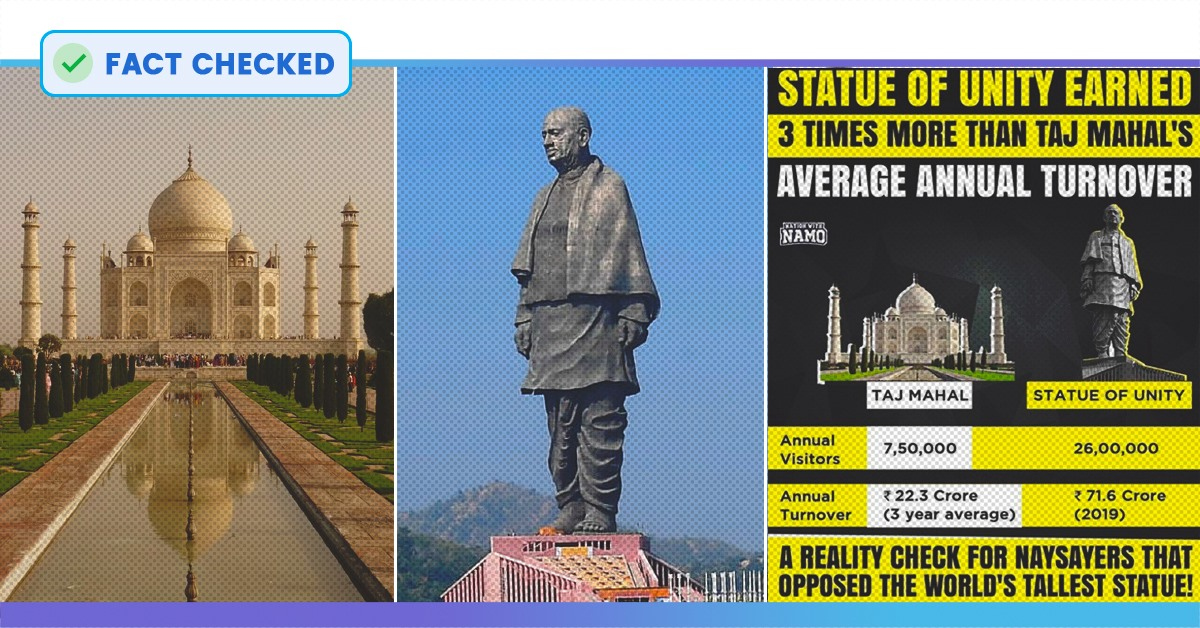 Fact Check: Did The Statue Of Unity Really Earn Thrice As Much As The Taj Mahal?