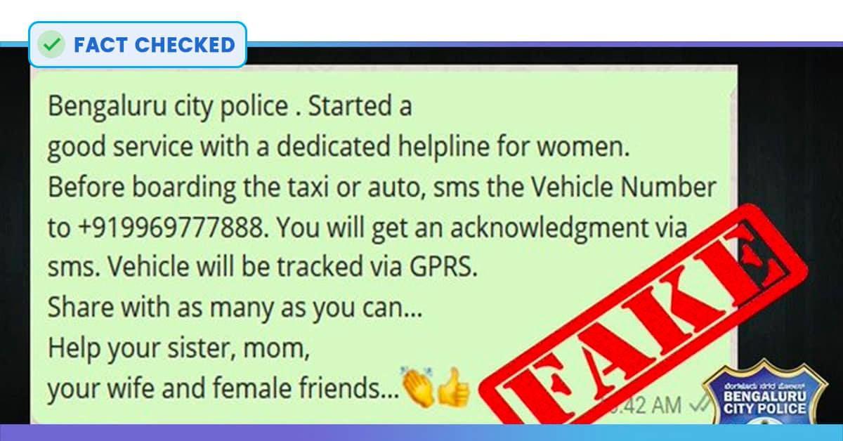 Fact Check: No, 9969777888 Is Not Bengaluru & Telangana Police Women Helpline Number