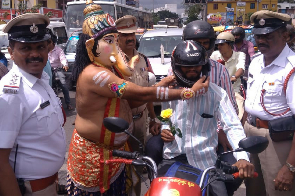 Lord Ganesha Descends From Heaven On Bengaluru Road To Teach Lessons On Road Safety