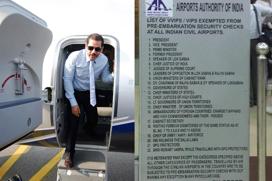 Aviation Ministry: VIP Treatment For Robert Vadra To Continue. Checkout The Complete List.