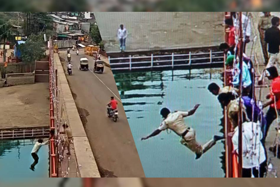 Watch: Brave and Selfless Police Man Jumps Off A 20 Feet Bridge Without A Second Thought