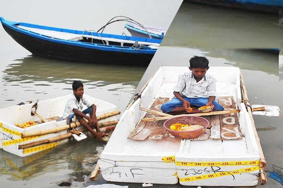 9-Year-Old Boy Made A Boat From Waste Material