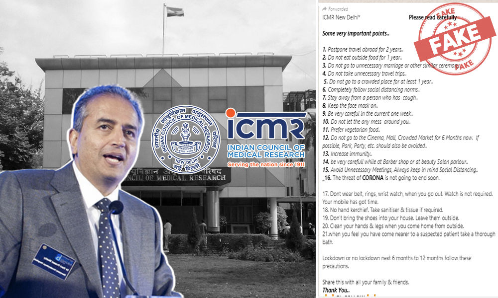 Fact Check: Fake List Of Advice To Live With COVID-19 Attributed To ICMR, Dr Devi Shetty