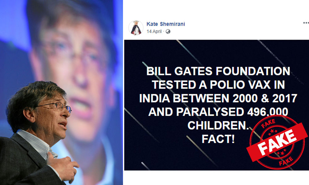 Fact Check: Were 496,000 Children In India Paralyzed Between 2000 & 2017 From Bill Gates Polio Vaccine?