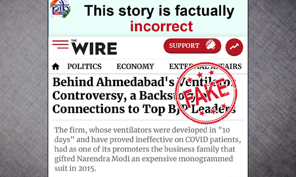The Wire Vs PIB: Report Of Substandard Ventilators At Ahmedabad Govt Hospital Courts Controversy