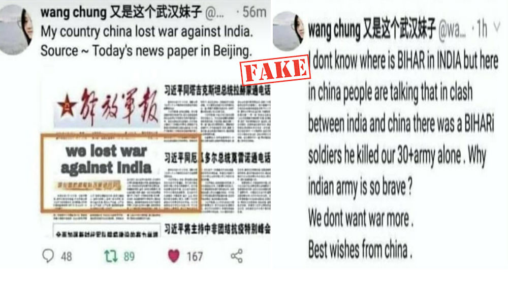 Fact Check: Tweet From Parody Account Claiming India Won War Against China Goes Viral