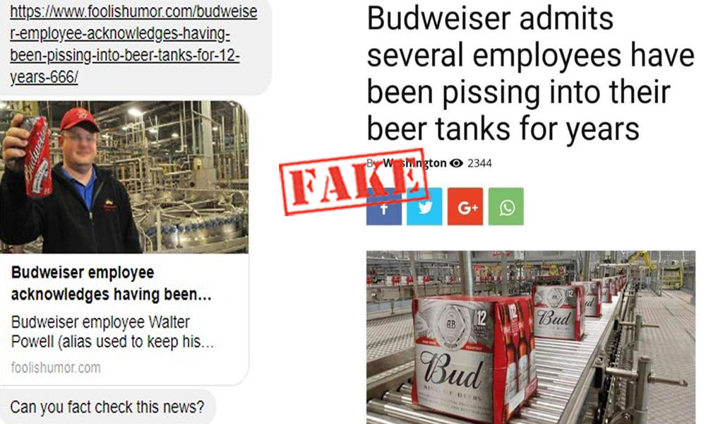 Fact Check: Satire Piece On Budweiser Employees Urinating In Beer Tanks Goes Viral As News