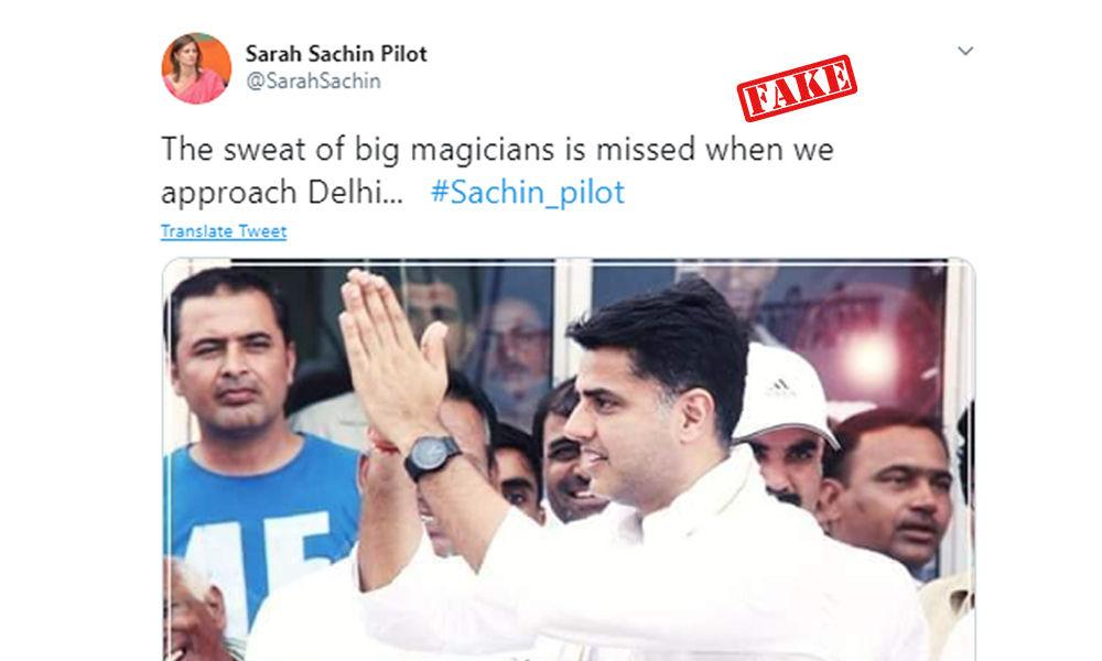 Fact Check: Tweets From Fake Account Of Sara Pilot Attacking Ashok Gehlot Go Viral, IANS Fell For Them