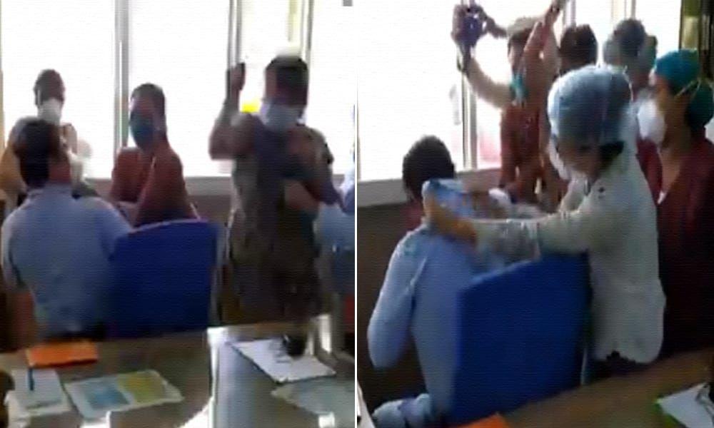 [Video] Nurses Thrash Doctor Accused Of Sexual Harassment At Haryana Hospital