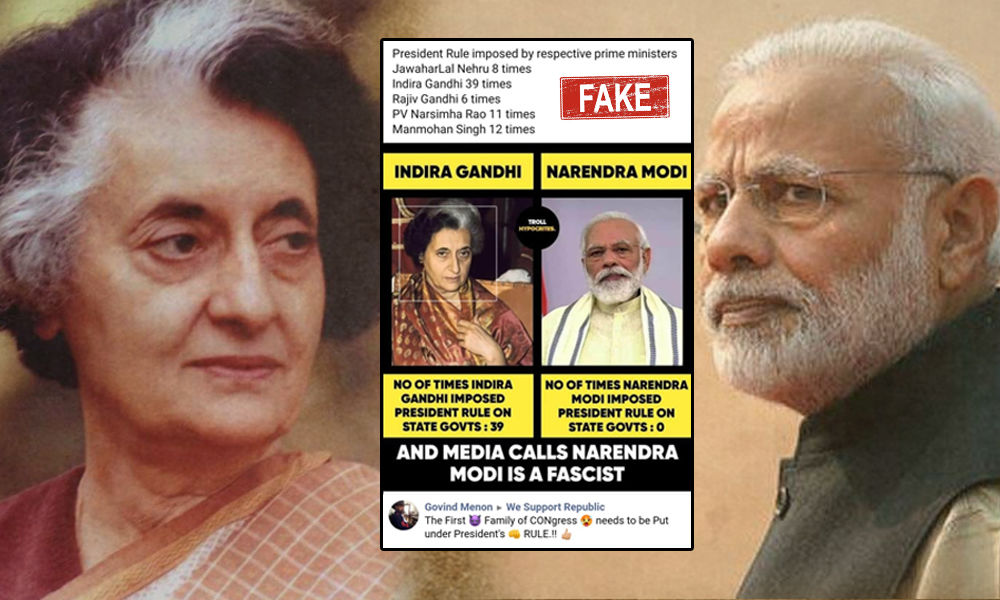 Fact Check: Viral Graphic Claims PM Modi Never Imposed Presidents Rule