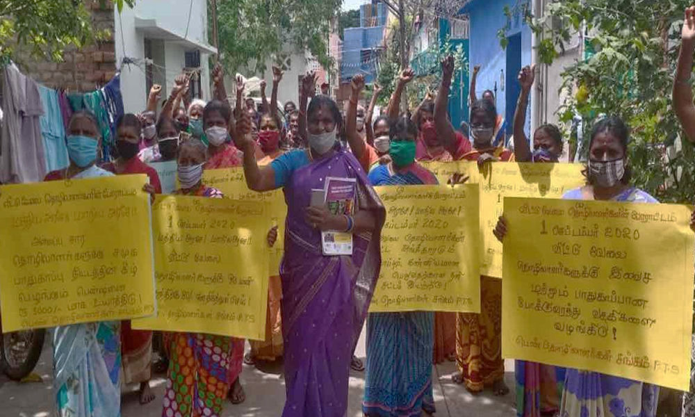 Domestic Workers Protest In Chennai Over Job Loss, Ignorance During Pandemic