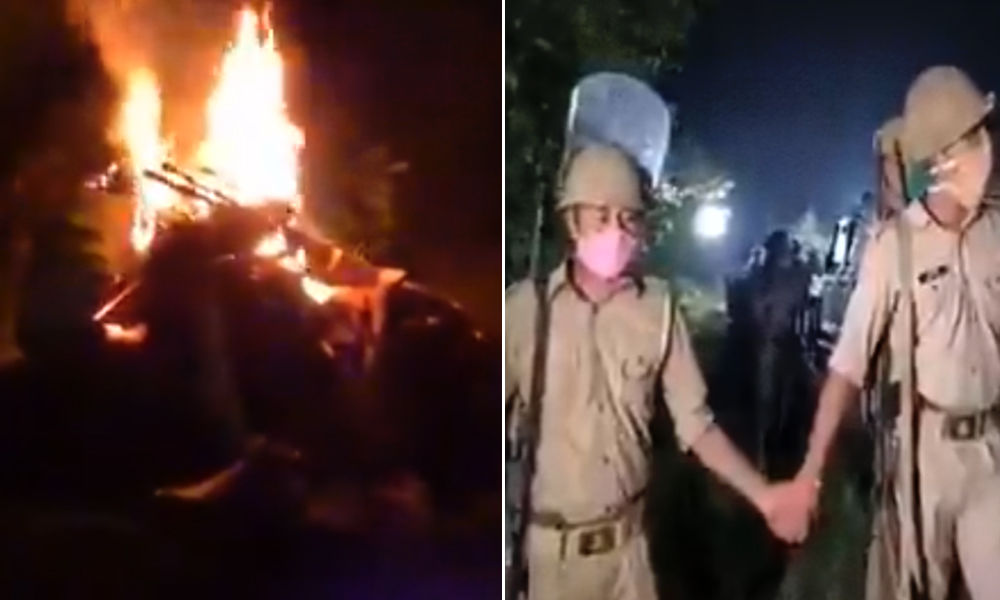 [Video] Hathras Horror: Police Barricade Funeral Pyre Of Gangrape-Murder Victim From Family, Media