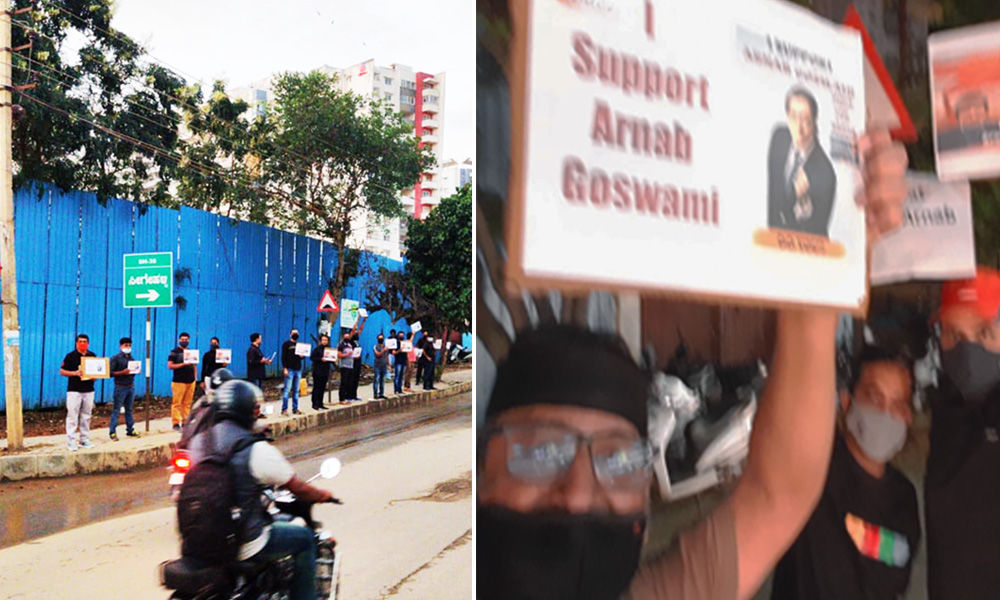 Bengaluru Residents Stage Protest Against Arrest Of Arnab Goswami