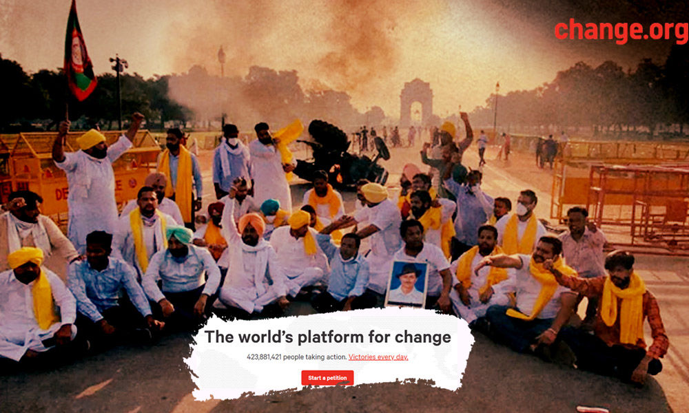 Lakhs Of People Across World Sign Petitions At Change.org To Show Support To Protesting Farmers