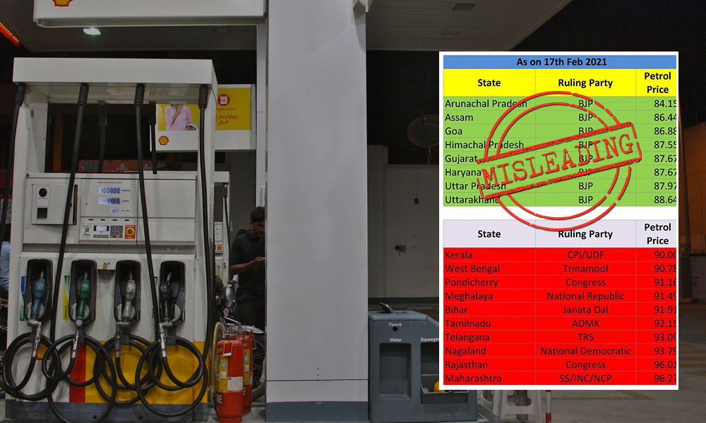 Fact Check: Does BJP Ruled States Have Lower Petrol Prices Than Non-BJP Ruled States?