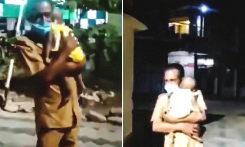 Kerala Cop Cradles Baby On His Shoulder Outside Hospital After Parents Meet With Accident