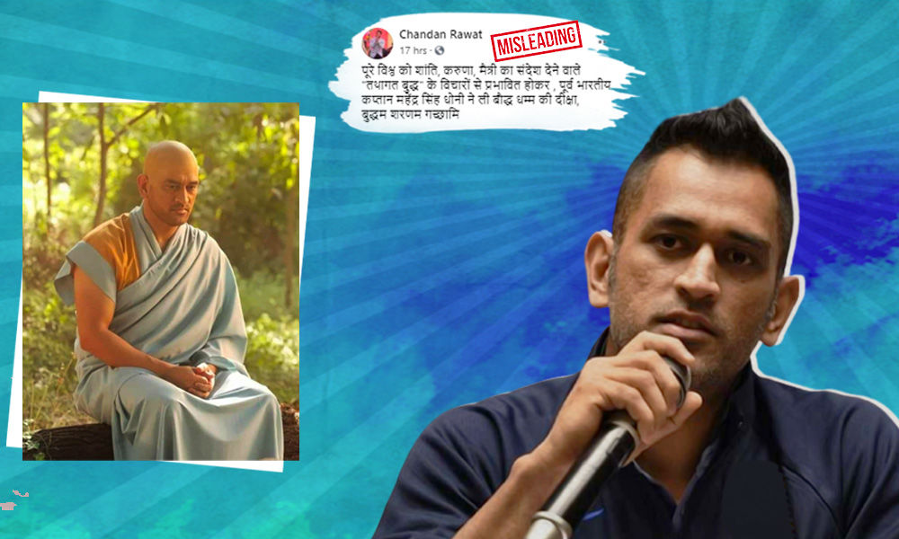 Image Of Dhoni In New Avatar Goes Viral With Claim Of Him Converting To Buddhism