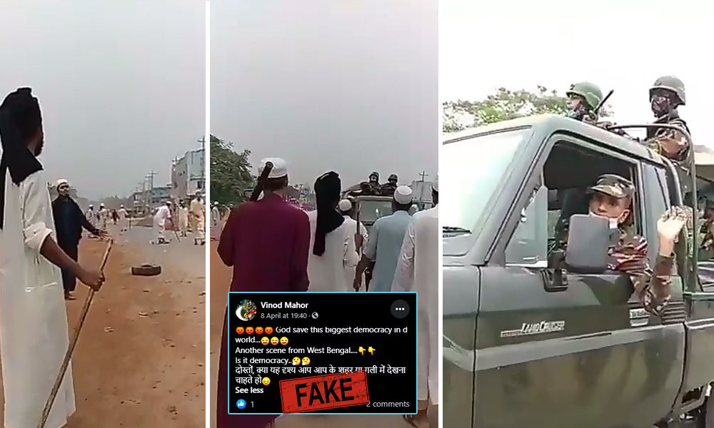 Video Of Protestors Blocking An Army Convoy In Bangladesh Shared With Claim That It Is Of West Bengal