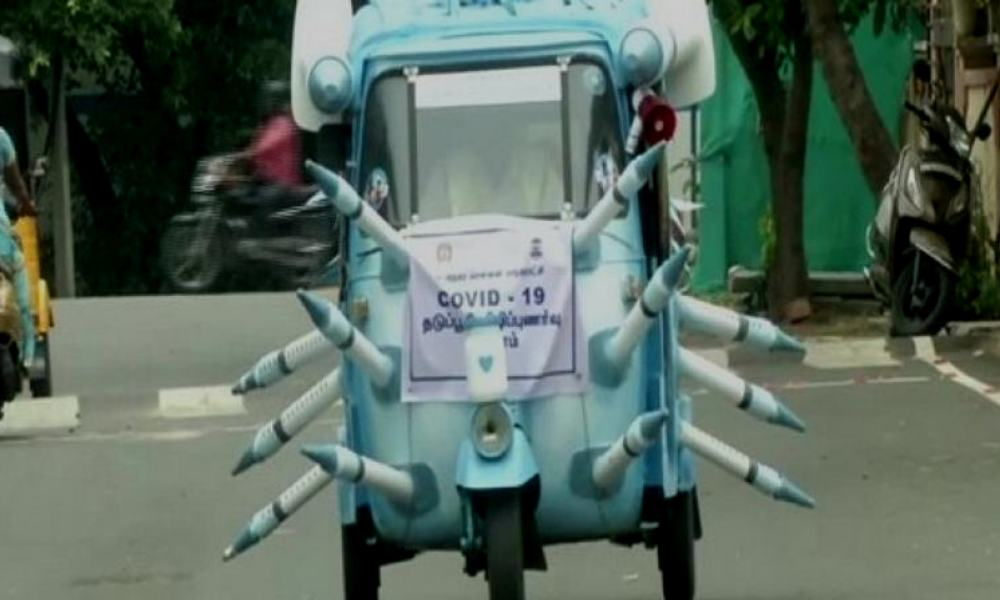 Chennai Artist Paints Autorickshaw Blue With Syringes To Spread Vaccination Awareness