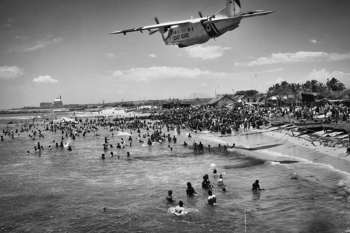 Coast guard aero plane was flown too low over the protesting villagers who ventured into the sea as a part of their Jal Sathyagraha.
