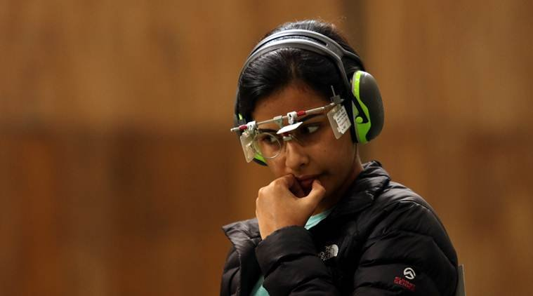 Heena Sidhu in 10m Air Pistol during Asia Olympic Qualifying Competition for Shooting in New Delhi on Wednesday. EXPRESS PHOTO BY PRAVEEN KHANNA 27 01 2016. *** Local Caption *** Heena Sidhu in 10m Air Pistol during Asia Olympic Qualifying Competition for Shooting in New Delhi on Wednesday. EXPRESS PHOTO BY PRAVEEN KHANNA 27 01 2016.