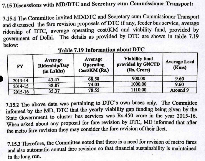 Excerpt from Fourth Fare Fixation Committee Report, 2016