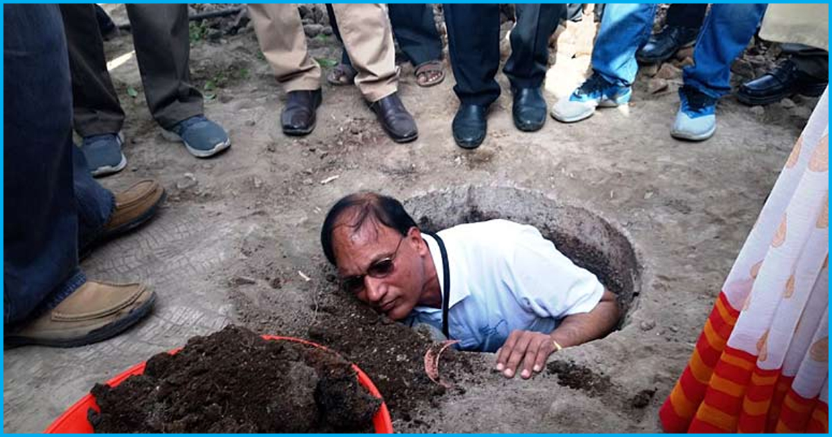 Telangana Collector Cleans A Toilet Pit To Show Process Of Transforming Night Soil Into Organic Manure