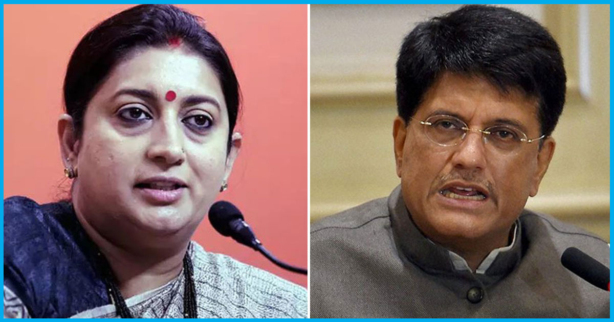 Smriti Irani Removed From I&B Ministry; Piyush Goyal Given Temporary Charge Of Finance Ministry