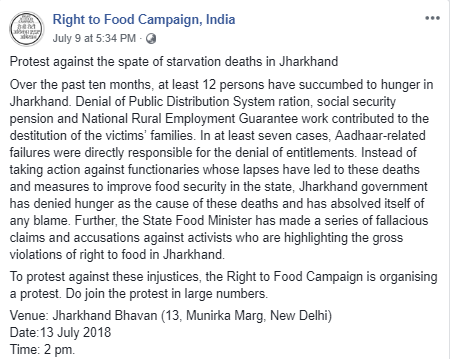 Right To Food Campaign, India Protests