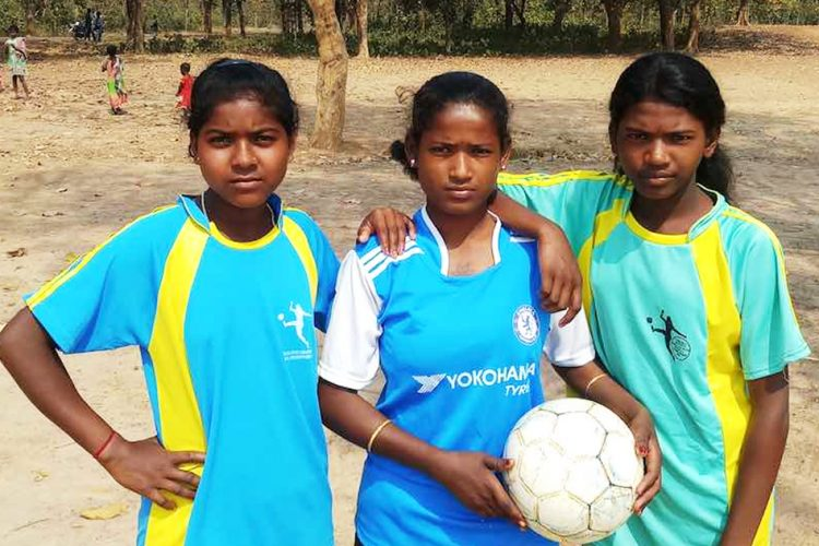 Santhal Girls Playing Football