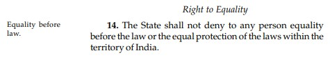 Article 14 from the Indian Constitution